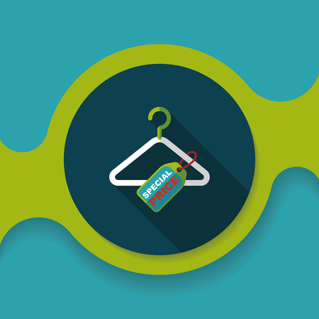 clothes hanger: shopping clothes hanger flat icon with long shadow,