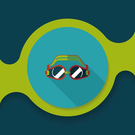 swimming goggles: swimming goggles flat icon with long shadow,