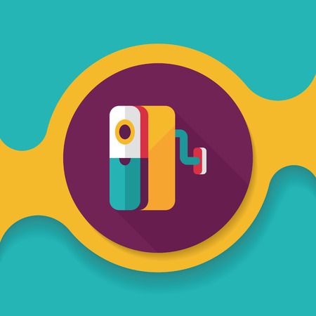 pencil sharpener: Pencil sharpener flat icon with long shadow,
