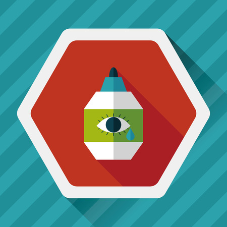 therapeutic: Eye Drop flat icon with long shadow,