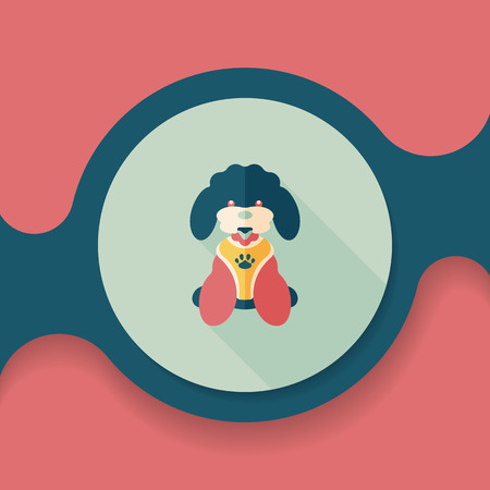 dogie: Pet dog flat icon with long shadow, Illustration