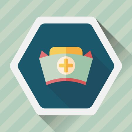 nursing clothes: nurse hat flat icon with long shadow,