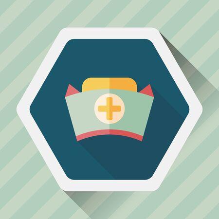 nurse hat: nurse hat flat icon with long shadow,