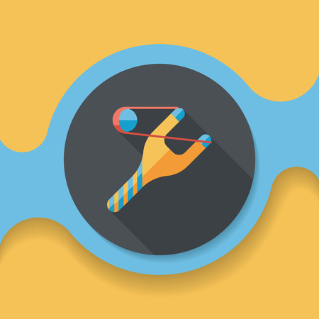 Slingshot flat icon with long shadow, 일러스트