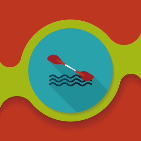 boating: Boating paddle flat icon with long shadow,