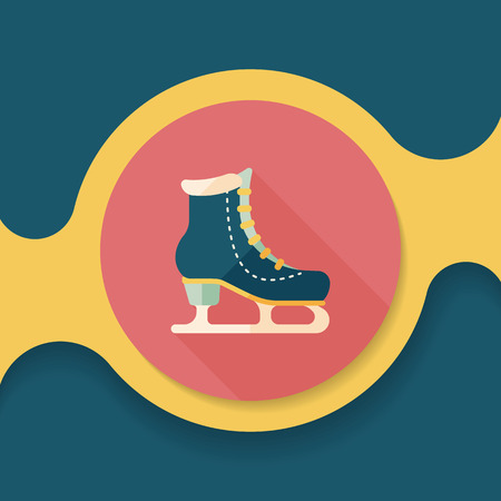 shoelaces: ice skate flat icon with long shadow,