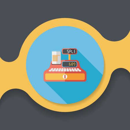 e cash: shopping cash register flat icon with long shadow,