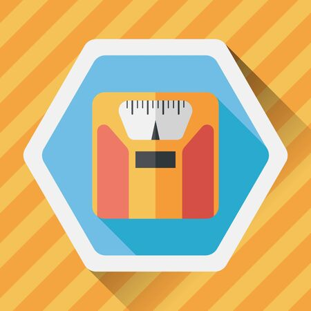 analog weight scale: weight scale flat icon with long shadow, Illustration