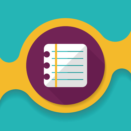 periodicals: notebook paper flat icon with long shadow,