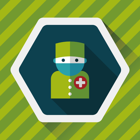 surgeon mask: medical people with stethoscopes flat icon with long shadow, Illustration