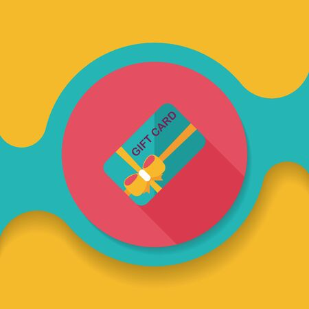 cutoff: shopping gift card flat icon with long shadow, Illustration