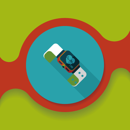 heart rate: heart rate sport-watch flat icon with long shadow, Illustration