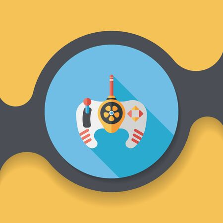 joypad: Game controller flat icon with long shadow