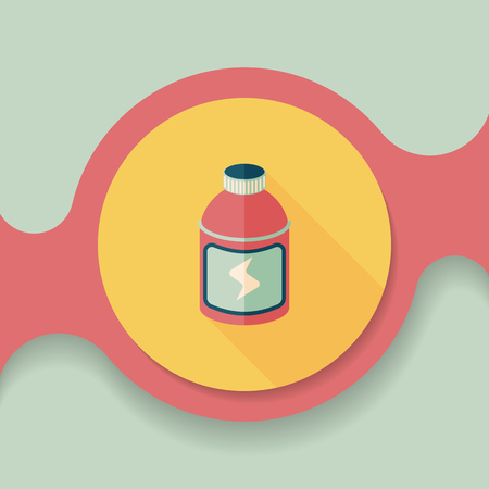 non alcoholic: energy drinks flat icon with long shadow,