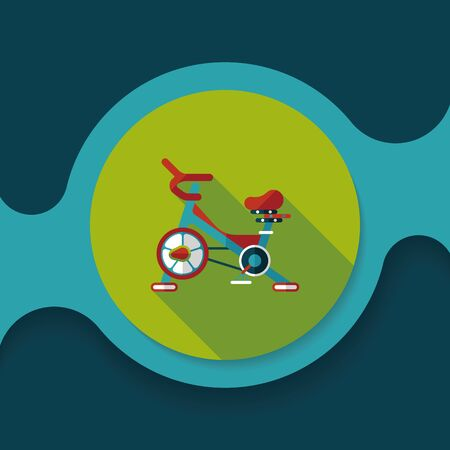 home trainer: Exercise bike flat icon with long shadow,