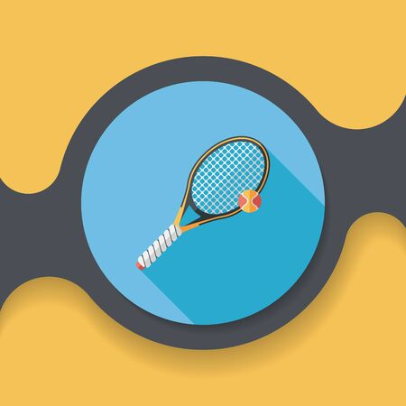 tennis flat icon with long shadow, Illustration