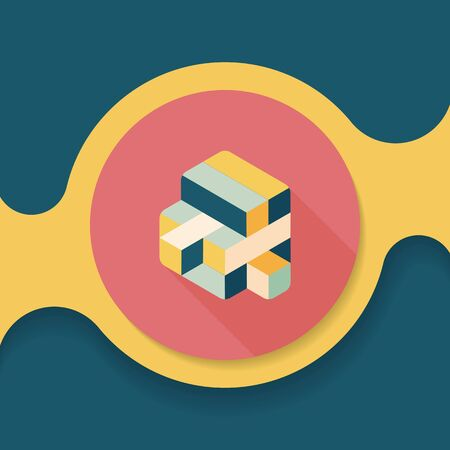 puzzling: toy cube flat icon with long shadow,