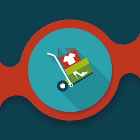 handling: shopping handling trolley flat icon with long shadow, Illustration