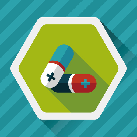 painkiller: Pills flat icon with long shadow,