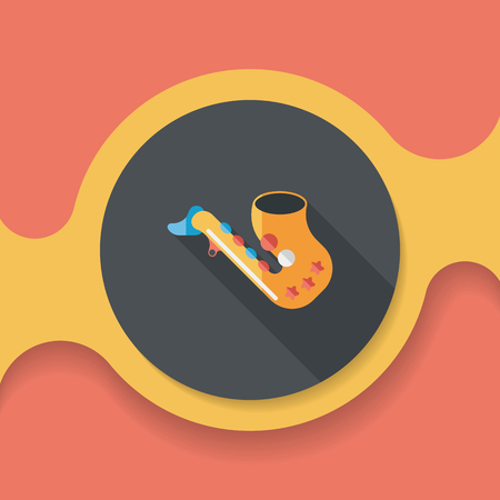 blare: saxophone flat icon with long shadow, Illustration