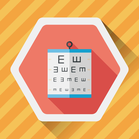 eye test: eye test chart flat icon with long shadow,