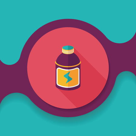 non alcoholic beverage: energy drinks flat icon with long shadow,