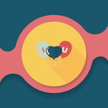 ballons: Valentines Day ballons flat icon with long shadow,