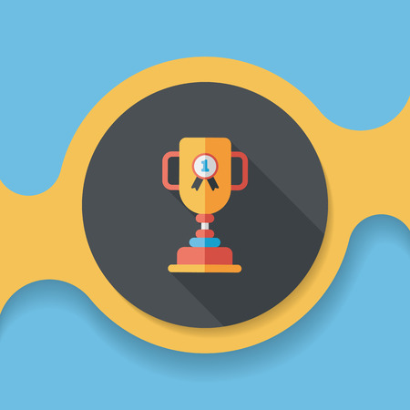 Trophy Cup flat icon with long shadow,