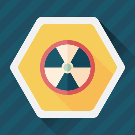 uranium: Radiation flat icon with long shadow,
