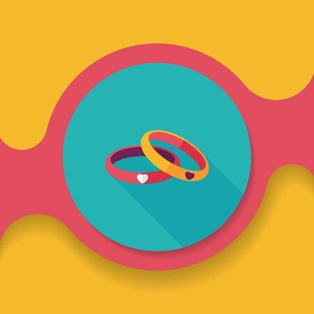 bracelet: Valentines Day couple bracelet flat icon with long shadow, Illustration