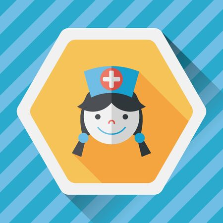 home care nurse: Medical nurse flat icon with long shadow,