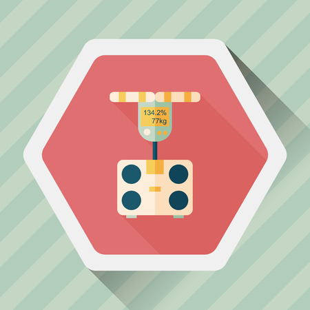 bulimia: Weight scale flat icon with long shadow,