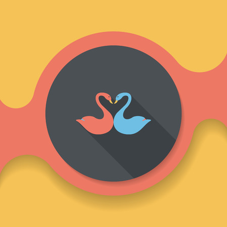 lover: Valentines Day lover swan flat icon with long shadow,
