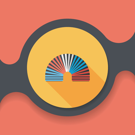 coil springs: Rainbow spiral flat icon with long shadow,