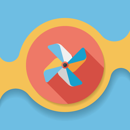 spinning windmill: Windmill flat icon with long shadow