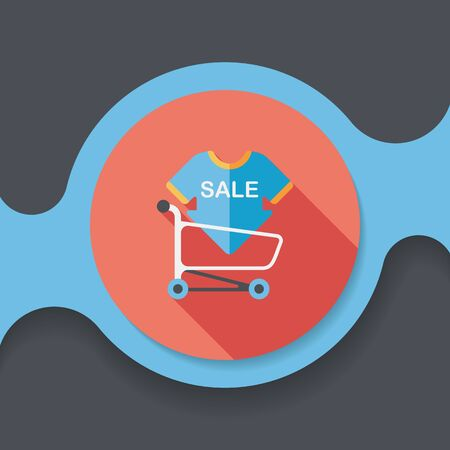 cheaper: shopping sale sign board and cart flat icon with long shadow,