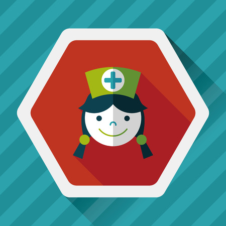 nurse home: Medical nurse flat icon with long shadow,