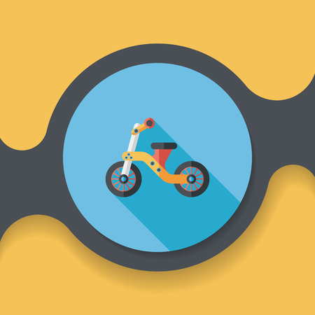 tricycle: Kids Tricycle flat icon with long shadow, Illustration