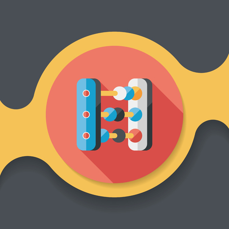 educational tools: abacus calculation flat icon with long shadow Illustration