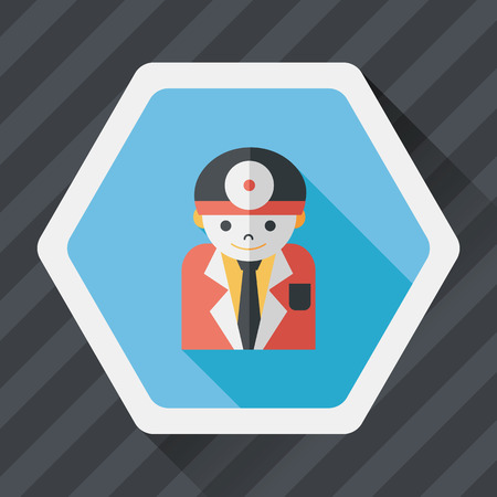 surgical nurse: medical people with stethoscopes flat icon with long shadow, Illustration