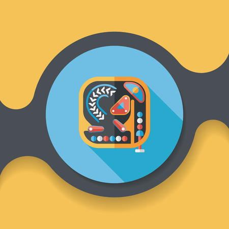 Pinball flat icon with long shadow, Illustration