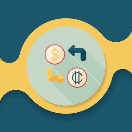 currency converter: Currency exchange flat icon with long shadow