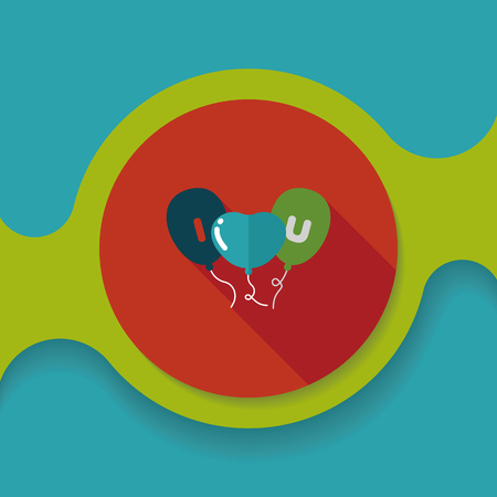 love words: Valentines Day ballons flat icon with long shadow,