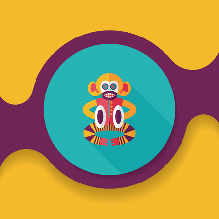 Cymbals: monkey toy flat icon with long shadow, Illustration