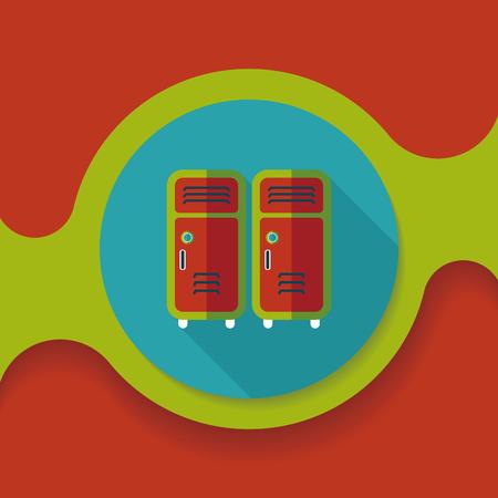 lockers: school lockers flat icon with long shadow, Illustration