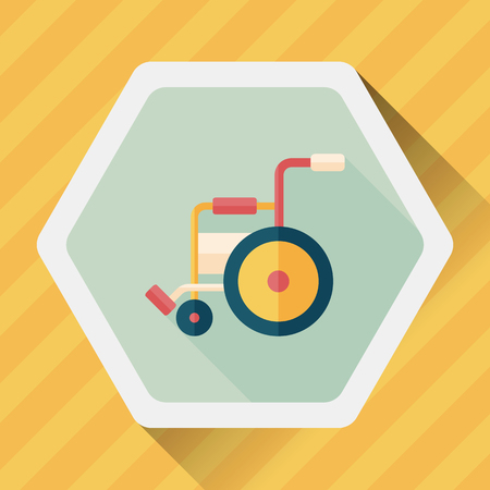 physical impairment: Wheelchair flat icon with long shadow, Illustration