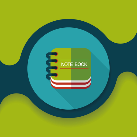 periodicals: notebook flat icon with long shadow,