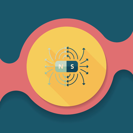 magnetic field: magnetic fields flat icon with long shadow,