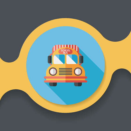 school icon: School Bus flat icon with long shadow, Illustration