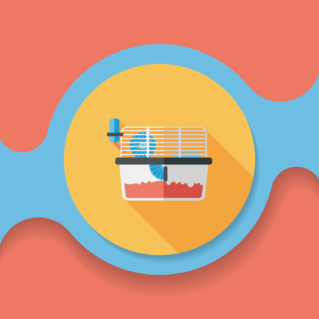 mouse trap: Pet mouse cage flat icon with long shadow,